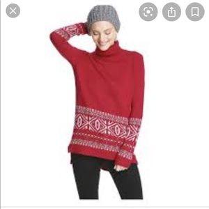 red turtleneck fair isle sweater